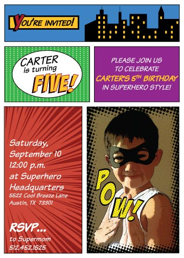 superhero birthday invitation created by v