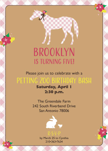 Petting zoo birthday invitation created by v pretty pony invitation this darling invitation is perfect for a petting zoo party or filmwisefo